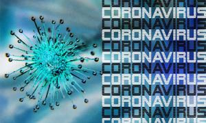 coronavirus scritta azzurra